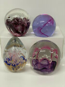 Glass Paperweights Collection 4 Inc, Antique Bubble Blue Pink Purple Assorted