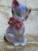 Vintage Royal Copley Cat Figurine Green Eyes Red Bow 8