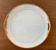 Antique Noritake Nippon Rc Mark Mikado White And Gold 9 5/8 Handled Cake Plate