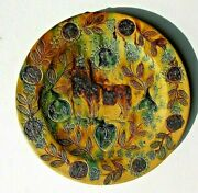 Large Studio Art Pottery Hand Made Decorative Plate Platter Sun And Moon Cow