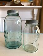 2 Vintage Atlas And Ball Mason Canning Jars With Zinc Lids