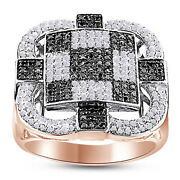 Round White And Black Natural Diamond Checkerboard Menand039s Band Ring 10k Rose Gold