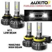 4x Auxito Led Headlight Bulbs 9005 H11 High Low Beam Fanless White 40000lm Combo