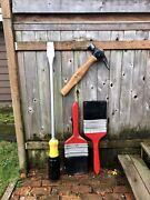 4 Vintage Hardware Store Giant Tool Signs Screwdiver 6ft Paintbrushes Hammer