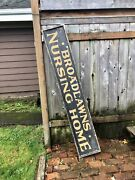 Antique 1920andrsquos Broadlawns Nursing Home Painted Wood Dign Building Sign