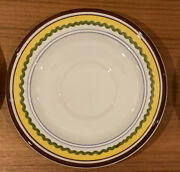 Set Of 6 Vintage Retro Mancioli Mancer Hand Painted Saucers Made In Italy