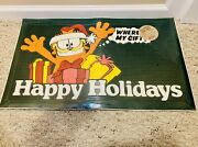 Vintage Garfield Christmas Happy Holidays Door Mat ©️1978- Brand New And Sealed