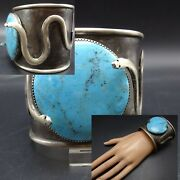 Heavy Vintage Navajo Extra Wide Sterling Silver Turquoise Snake Cuff Bracelet