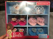 New Barbie Shoes And Tiara Crown Set In Box Dress Up 2 Tiaras 4 Pairs Shoes