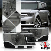 Smoke Tinted [factory Style] Headlight Lamp Clear Reflector For 13-19 Ford Flex