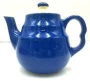 Vintage Stoneware Teapot Tea For One Restaurant Ware Royal Blue And White Made Usa