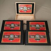 5 Empty Black Wooden Cigar Boxes Rocky Patel Vintage Series 1990 Hinged 11.5x7.5