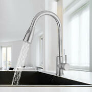 Commercial Pull Down Kitchen Sink Faucet With Sprayer Brushed Nickel Single Hole
