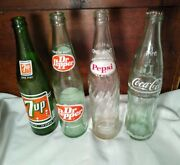 Dr Pepper 7up Pepsi Coke 16 Oz Acl Soda Bottle Lot Of 4 1970's And 1980's