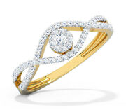 Christmas 0.86ct Natural Round Diamond 14k Solid Yellow Gold Ring Size 7