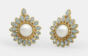 Christmas 1.17ct Natural Round Diamond Pearl 14k Solid Yellow Gold Stud Earring