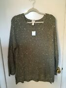 Beautiful Chicoandrsquos Olive Green Tunic Sweater Sequin Accents Size 2 Nwt