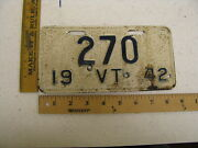 1942 42 Vermont Vt Motorcycle Mc License Plate 270