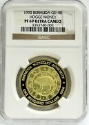 1990 Gold Bermuda 500 Minted 100 Hogge Money 1oz Ngc Proof 69 Ultra Cameo