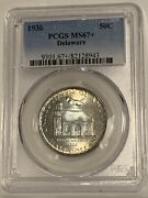 1936 Delaware Ms67+ Pcgs .50 Commemorative Silver Half Dollar Rare Coin