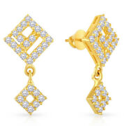Christmas 1.16ct Natural Round Diamond 14k Solid Yellow Gold Dangler Earring