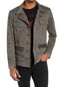 John Varvatos Usa Mens Ink Drop Stained Officers Cotton Military Field Jacket