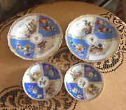 Four Meissen Plates Hand Painted Scenes Bouquets Of Flowers On Blue Background