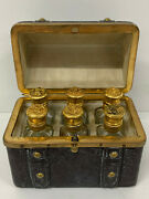Travel Set Leather Covered Casket With Scent Perfume Bottles Antique Set 6