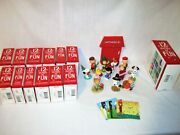 Set Of Hallmark 2013 And 2014 Peanuts 12 Months Of Fun Ornaments Plus Display