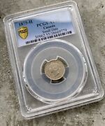 1875 H Sm Date Canada 5 Cents Silver Coin - Pcgs Au-55 Key
