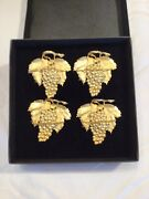 L-s Collection Lynda Sylvester Grapes Leaves Napkin Rings Gold Gilded