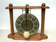 Messing-gong Mit Sternzeichen Im Gestell | Brass Gong With Zodiac Signs In Frame