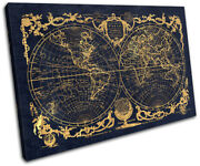 Vintage Navy Gold World Maps Flags Single Canvas Wall Art Picture Print