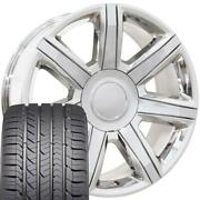 22 Inch Chrome 4739 Rims And Goodyear Tires Set Fit Escalade Tahoe Silverado