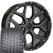 22x9.5 Wheel And Tire Fit Chevy Gm Silverado Blk Rims W/milled Edge Gy Tires Cp