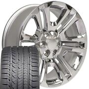 22x9 Wheel And Tire Fits Chevy Gm Sierra Chrome Rims Gy Tires Cp