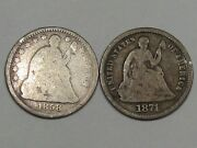 2 Silver Us Seated Liberty Half Dimes 1858 And 1871. 4