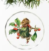 Vera The Mouse Takes A Rest Round Glass Ornament By Marjolein Bastin