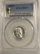 1943-s 1c Lincoln Wheat One Cent Pcgs Ms67+