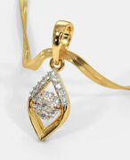 Christmas 0.48ct Natural Round Diamond 14k Solid Yellow Gold Pendant