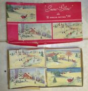 Vintage Gibson Snow Glow Glitter Christmas Cards 9 Cards And Box