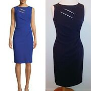 Tahari By Asl Womenand039s Dress Sheath Ruched Front Cut Outs Blue