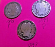 1897. 98. 99.p Barber/ Liberty Head Qtr Last Of 1800 3 Coins-1 Price-silver