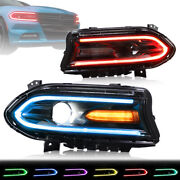 Led Rgb Headlights For Dodge Charger 15-20 Control Multicolor Projector Assembly