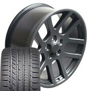 22x10 Wheel And Tire Fits Dodge Ram Truck Srt Style Gunmetal Rims Gy Tire 2223 Cp