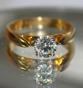 Christmas 0.74ct Natural Round Solitaire Diamond 14k Solid Yellow Gold Ring