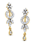 Christmas 1.65ct Natural Round Diamond 14k Solid Yellow Gold Dangler Earring