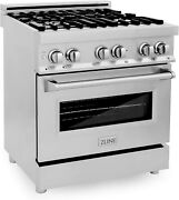 Zline Professional 4.0/4.6 Cu Ft 4/6 Gas On Gas Range In Stainless Steel Rg