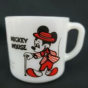 Vintage Mickey Minnie Mouse Fire King Anchor Hocking Coffee Mugs Cup Milk Glass