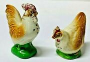 Vintage Hen And Rooster Salt And Pepper Shakers Made In Occupied Japan.